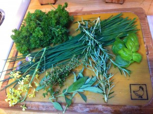 For this particular recipe, I grabbed whatever herbs could be found in the garden. Parsley, chives, basil, sage, rosemary, thyme, broccoli flowers, and curry leaves made themselves at home. Curry leaves?! Yes, curry leaves.