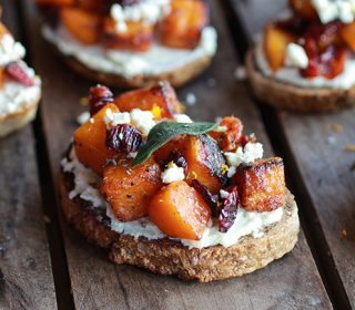 Carmelized Butternut Squash and Gorgonzola Cranberry Crostini