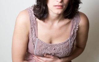Lady with stomach pain